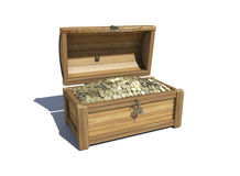 Trunk with money. A wooden chest filled with money royalty free illustration