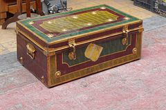Trunk. Old metal travel trunk casket Royalty Free Stock Photos