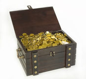 Trunk piratic. Wooden chest full of gold coins Royalty Free Stock Image
