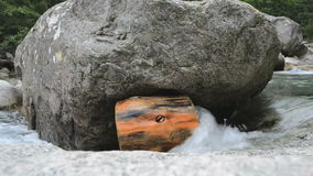 Trunk in a river stuck under a rock stock video