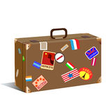 Trunk with stickers and label Royalty Free Stock Photos
