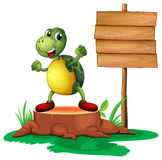 A trunk with a turtle near the wooden signboard Royalty Free Stock Photos