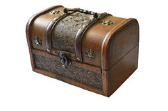 Trunk. Wooden chest for jewelry. Treasure Stock Photo