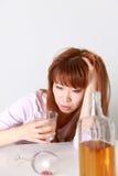 Trunkenheits-Frau Stockfoto