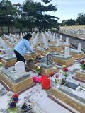 Truong Son martyr`s cemetery in Hai Phu, Hai Boi, Quang Tri. The burial place of martyrs was sacrificed during the war against the. US. Many martyrs do not stock image