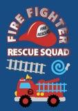 Trupp för räddningsaktion för brandkämpe. Arkivfoto