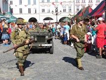 Truppe americane di WWII durante la parata Fotografia Stock