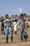 Truppe francesi che infornano sul campo di battaglia durante la rappresentazione della battaglia di Bailen fotografia stock libera da diritti
