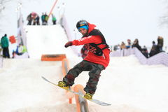 Truque do snowboard de Slopestyle Foto de Stock