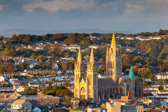 Truro Cathedral Cornwall England. Overlooking the cathedral and city skyline, Truro Cornwall England UK Royalty Free Stock Images