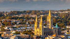 Truro Cathedral Cornwall England. Overlooking the cathedral and city skyline, Truro Cornwall England UK royalty free stock image