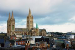 Truro Cathedral, Cornwall, England. A shot of truro cathedral towering over the city of truro, Cornwall, England Royalty Free Stock Image