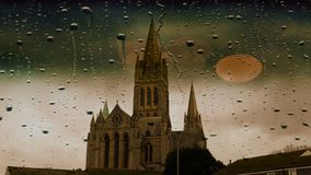 Truro Cathedral on a rainy day stock photos