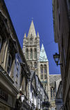 Truro Cathedral from street. Truro cathedral tower viewed from street Stock Photos