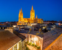 Truro Cornwall England. Rooftop view of Truro Cornwall England with the Cathedral illuminated at dusk stock images