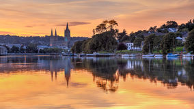 Truro Cornwall England Sunset. View up river at sunset from Malpas with Truro Cathedral in the background Royalty Free Stock Images