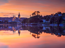 Truro Cornwall England Sunset. View up river at sunset from Malpas with Truro Cathedral in the background Stock Photography