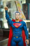 Superman. Truro, England - July 14, 2018: Detail of superman miniature in the window of a comics shop in Truro, Cornwall`s county town, single city, and centre stock images