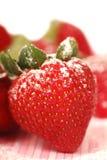 truskawka świeży sproszkowany cukier zdjęcia stock