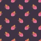 truskawka Bezszwowy wzór z pozaziemskim lub galaxy Zdjęcie Stock