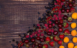 Truskawka, czarna jagoda, czernica, malinka, wiśnia, morele, agrest i rodzynek, Zdjęcia Stock