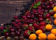 Truskawka, czarna jagoda, czernica, malinka, wiśnia, morele, agrest i rodzynek, Fotografia Royalty Free