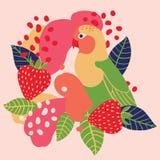 Truskawka i papuga na abstrakcjonistycznym tle ilustracyjny bezszwowy wektor Obraz Stock