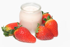 truskawka jogurt Obraz Royalty Free