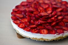 Truskawka tort bez piec Fotografia Royalty Free