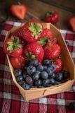 Truskawki i czarne jagody Zdjęcia Stock