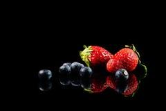 Truskawki i czarne jagody Obraz Royalty Free