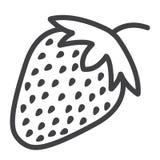 Truskawki kreskowa ikona, owoc i dieta, Fotografia Royalty Free