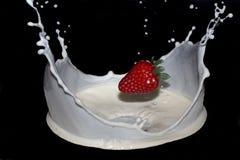 Truskawki mleko Zdjęcie Royalty Free
