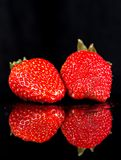 Truskawki owoc odizolowywająca na czarnym tle 3 Fotografia Stock