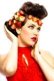 truskawki piękna kobieta Fotografia Stock