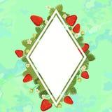 Truskawki rama w postaci diamentu, przestrze? dla teksta Zielony t?o r?wnie? zwr?ci? corel ilustracji wektora ilustracji