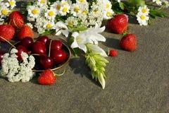 Truskawki, wiśnie i truskawki wśród białych kwiatów, Zdjęcie Stock