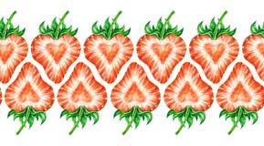 Truskawkowa miłość Akwarela kolorowy truskawkowy rysunek Bezszwowa akwareli ramy granica Zdjęcie Stock