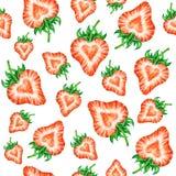 Truskawkowa miłość Wodnego koloru rysunek truskawka Akwareli truskawki bezszwowy wzór Zdjęcie Stock