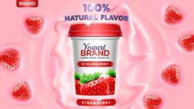 Truskawkowa smaku jogurtu reklama z jogurtu chełbotaniem, fala i spławowi truskawkowi elementy, Obrazy Stock