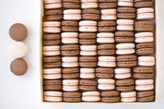 Truskawkowi i czekoladowi macarons w pudełku Zdjęcie Royalty Free