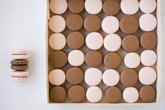 Truskawkowi i czekoladowi macarons w pudełku Obrazy Royalty Free