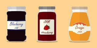 Truskawkowy dżem, jeżynowy dżem, pomarańczowego dżemu etykietki mieszkania wektor Obraz Stock