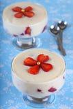 Truskawkowy deser z custard w szkle Fotografia Royalty Free