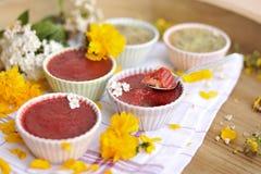 Truskawkowy pudding, wyśmienicie lata jagodowy deser, kopii przestrzeń zdjęcia royalty free