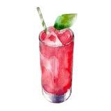 Truskawkowy sok w szkle z nowym liściem, akwareli ilustracja odizolowywająca na bielu royalty ilustracja