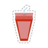 truskawkowy soku pudełko z słomy cięcia linią ilustracja wektor