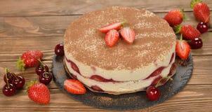 Truskawkowy tiramisu tort Obraz Stock