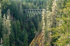 Truss Arch Bridge. High Steel Bridge over river Royalty Free Stock Images