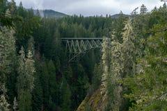 Truss Arch Bridge. High Steel Bridge over river Stock Photography